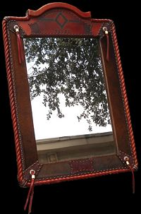 Outback Creations Leather Covered Mirror