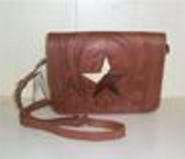 Ropin West Flap Chestnut Tooled Purse