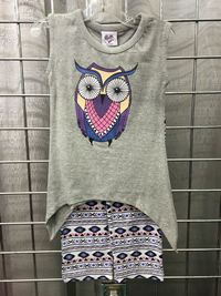 Ann Loren Owl Top and Leggings 2 Pc Set